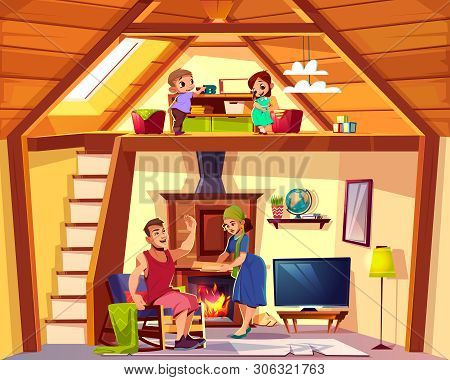 cartoon interior of house with happy family, children play on attic, man and woman in living room. Cozy duplex background. Cross section of home, crest. TV set, furniture, fireplace in hall. poster