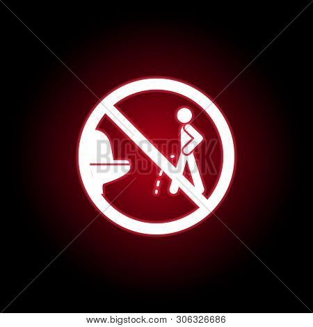 Forbidden Pissing Toilet Icon In Red Neon Style. Can Be Used For Web, Logo, Mobile App, Ui, Ux