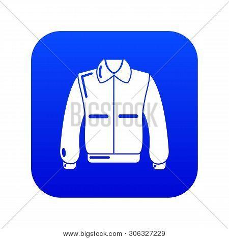 Varsity Jacket Icon Blue Vector Isolated On White Background