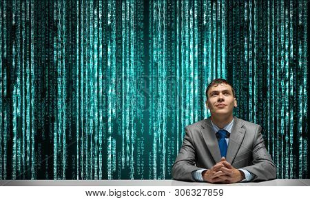 Smiling Man Folded Hands And Looking Upward. Artificial Intelligence Technology For Business Process
