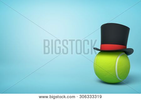 3d Rendering Of Tennis Ball Wearing Black Tophat With Red Ribbon With Much Copy Space Left On The Re