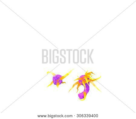 Monstrous Tentacles Font - Period (full Stop) And Comma Isolated On White Made Of Purple Slime And O