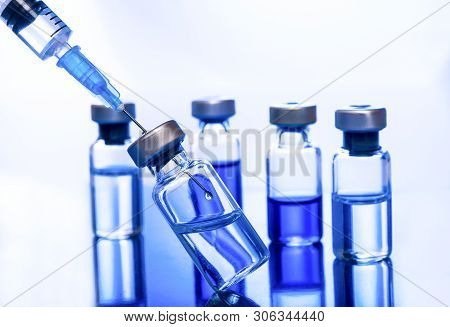 Medical Concept Vaccination Vaccine Vial Dose Flu Shot Drug Needle Syringe,lab Test Research Science