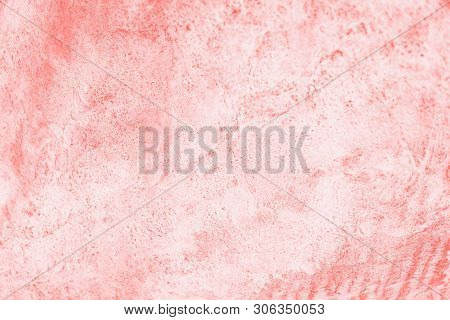 Coral Pink Color Background. Concrete Or Beton Pattern
