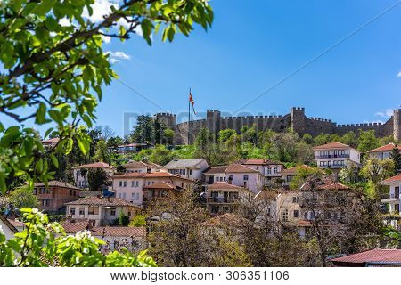Panoramic view of the massive walls of the castle Samuil, located above Ohrid town, Republic Of Macedonia poster