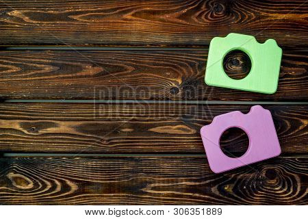 Photo Camera Concept On Wooden Background Top View Mock Up