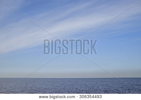 The Gulf Of Finland . Summer Sea In Clear Windless Weather. Sea Without Waves.