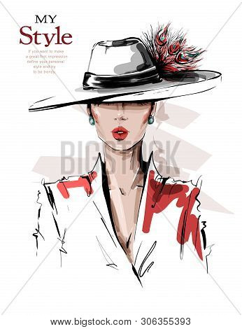 Hand Drawn Beautiful Young Woman In Hat With Feathers. Stylish Elegant Girl. Fashion Woman Look. Ske