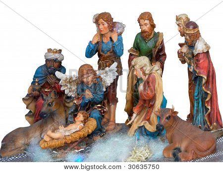 Decorative christmas scene with gospel statues