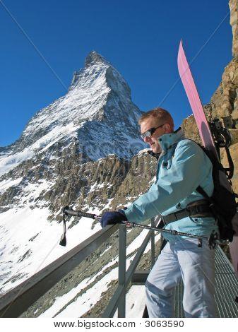 Matterhorn And A Snowboarder