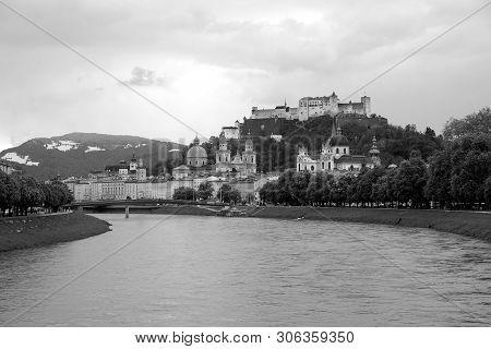Landscape, With Hohensalzburg Castle On Festung Mountain In Salzburg, Austria. View From The Salzach