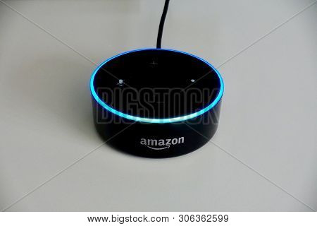 Orlando, Fl/usa-6/13/19: Amazon Alexa, Known As Alexa, Is A Virtual Assistant Developed By Amazon, F