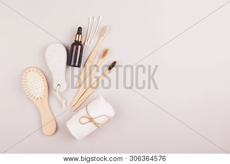 Plastic free personal care products on grey background. Zero waste  shopping for home. Eco friendly choice of living. poster