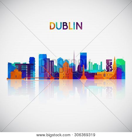 Dublin Skyline Silhouette In Colorful Geometric Style. Symbol For Your Design. Vector Illustration.