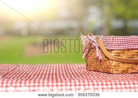 Picnic Basket Checkered With Picnic Tablecloth