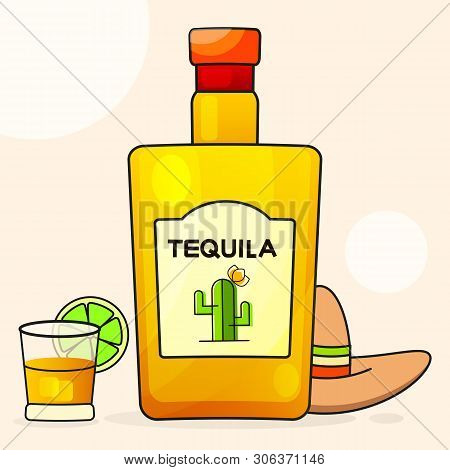 Mexican Background With A Fancy Bottle Of Tequila. Fancy Tequila Name Added. Template For Greeting C