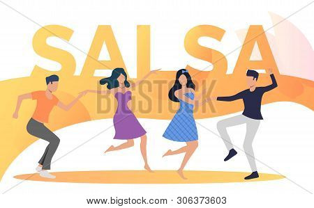 Happy People Dancing Salsa At Party. Leisure, Fun, Nightlife Concept. Vector Illustration Can Be Use