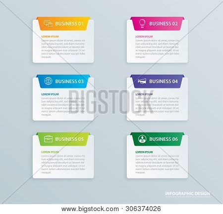 Infographics Tab Paper Index With 6 Data Template. Vector Illustration Abstract Background. Can Be U