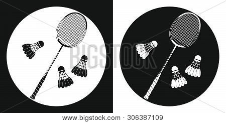 Badminton Racquet Icon. Silhouette Tennis Racquet And Three Badminton Shuttlecock On A Black And Whi