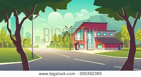 Comfortable Dwelling In Clean Place Outside The Town Cartoon Vector Concept. Modern Cottage House Bu