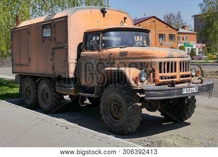 Kazakhstan, Ust-kamenogorsk, May 5, 2019: Old Soviet Truck Zil 131