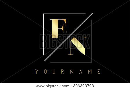 En Golden Letter Logo With Cutted And Intersected Design And Square Frame Vector Illustration