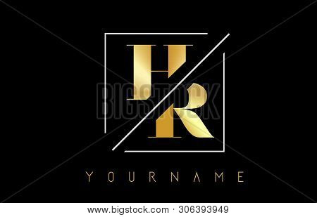 Hr Golden Letter Logo With Cutted And Intersected Design And Square Frame Vector Illustration