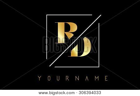 Rd Golden Letter Logo With Cutted And Intersected Design And Square Frame Vector Illustration