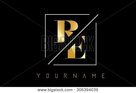 Re Golden Letter Logo With Cutted And Intersected Design And Square Frame Vector Illustration