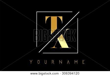 Tx Golden Letter Logo With Cutted And Intersected Design And Square Frame Vector Illustration