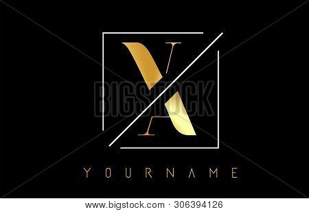 Va Golden Letter Logo With Cutted And Intersected Design And Square Frame Vector Illustration