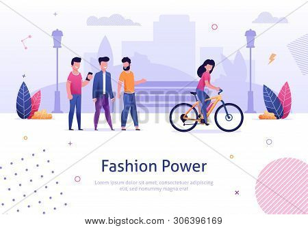 Fashion Power. Beautiful Woman Ride Electric Bicycle Man Looking Behind Vector Illustration. Cartoon Character Male Admire Attrative Girl Bike Rider. Smiling Female Bicyclist on City Street poster
