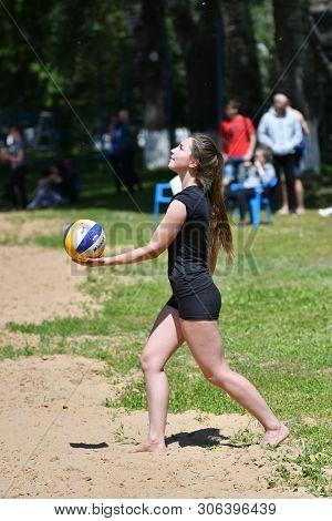 Orenburg, Russia, 9-10 June 2017 Year: Girl Playing Beach Volleyball