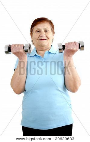 Mature Woman Doing A Workout