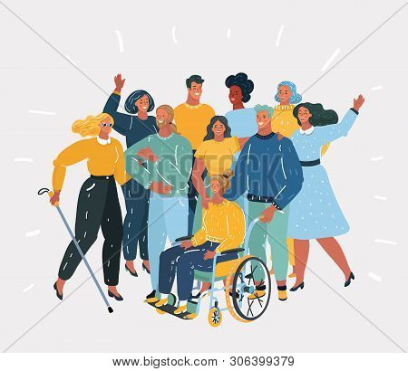 Vector Cartoon Illustration Of Disabled People, Handicapped Characters Volunteers, Diverse Students,