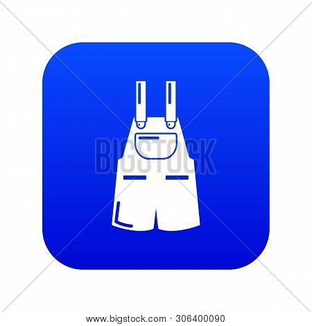 Jumpsuit Icon Blue Vector Isolated On White Background