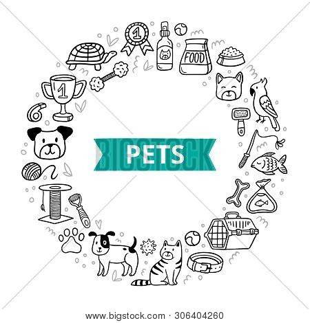Doodle Pets And Different Care Elements. Hand-drawn Vet Symbol Collection And Lovely Dogs, Cats, Fis