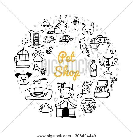 Doodle Pet Shop Stuff And Cute Pets. Vet Symbol Collection. Cartoon Dogs, Cats And Fish Care Element
