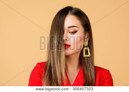 Enjoying Gorgeous Hair. Balayage Hair Color Technique. Pretty Woman Makeup Face Red Lips. Woman Wear