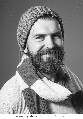 Smiling Bearded Man In Pullover, Hat, Scarf. Men's Fashion. Handsome Stylish Man In Elegant Autumn C