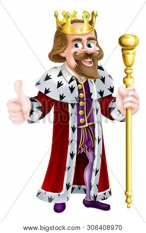 King Cartoon In A Crown, Holding A Sceptre And Giving A Thumbs Up