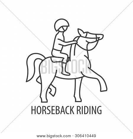 Horseback Riding Icon In Linear Style. Horseback Riding In Mounain Logo. Vector Illustration