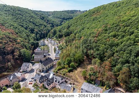 Village Brandenbourg In Luxembourg, Aerial View Form Castle At Hill 70 Meter Above The Houses