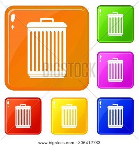 Trashcan Icons Set Collection Vector 6 Color Isolated On White Background
