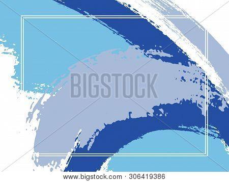 Horizontal Border With Paint Brush Strokes Background.  Advert Design Template For Card. Vector Bord