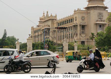 Bangalore, Karnataka India-june 04 2019 :moving Traffic Near Vidhana Soudha Bengalore.