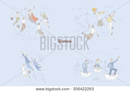 Business Achievements, Reaching Stars Metaphor, Ambitious People Getting Promotion, Career Goals Ban