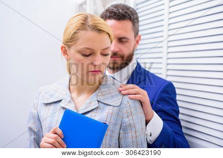 Sexual Harassment At Work. Sexual Harassment Between Colleagues And Flirting In Office. Victim Of Se