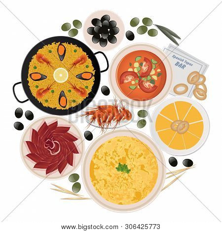 Circle Of Typical Tapas And Dishes Of Spanish Food Isolated On White Background. Paella, Potato Omel