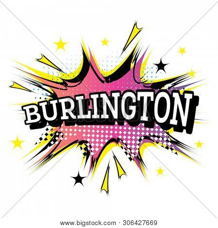 Burlington Comic Text in Pop Art Style.